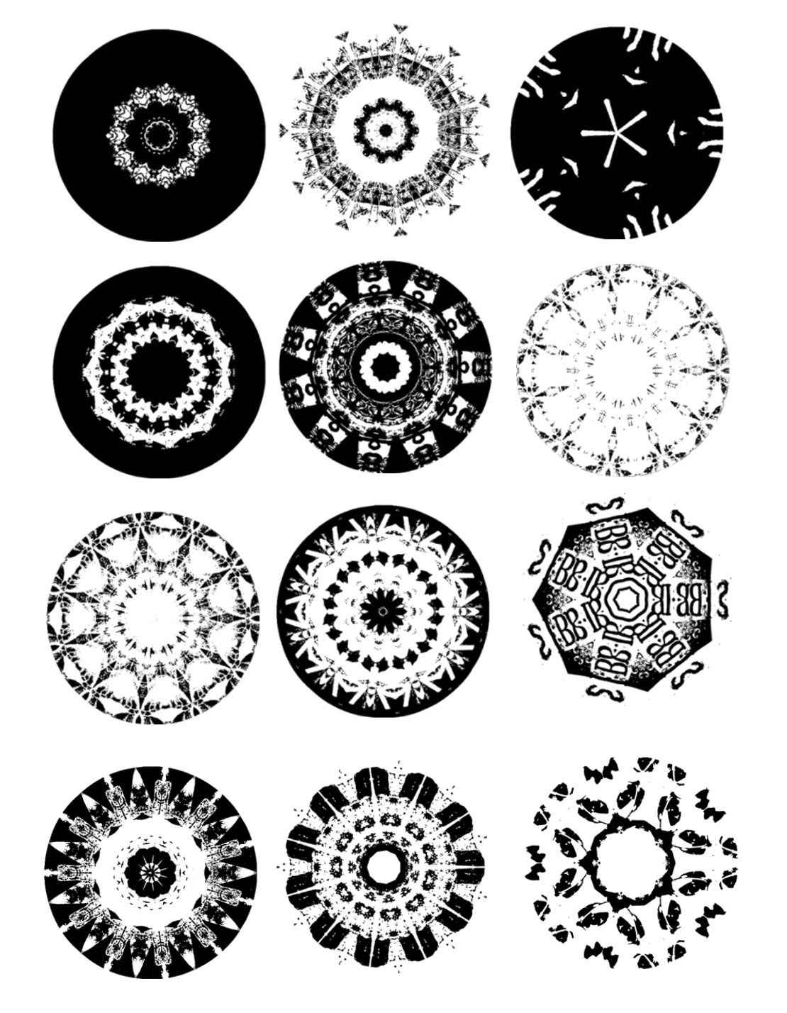 Brushes design with black and white mandalas