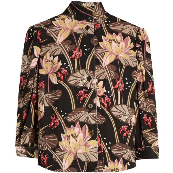 Loewe X Paulas Ibiza floral-print crepe blouse (¥128,210) ❤ liked on Polyvore featuring tops, blouses, shirts, loewe, black print, high neck shirts, floral print tops, flower print blouse, print shirts and print blouse