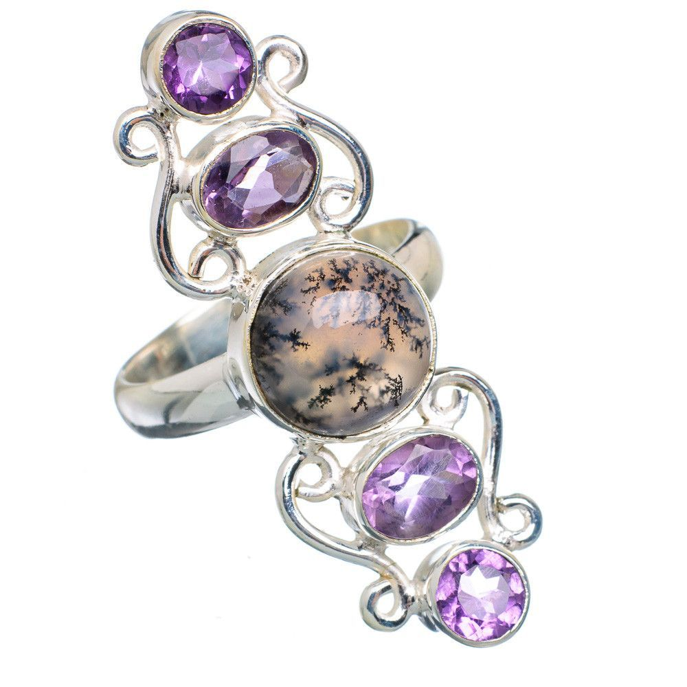 Large dendritic opal amethyst sterling silver ring size