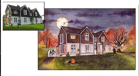Custom Haunted House Portait by spookymoonart on Etsy, $375.00