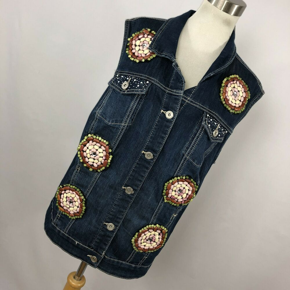 dac91bc3f4c New CJ Banks 2X Jean Jacket Vest Blue Embellished Seed Button Front Womens  H8  fashion