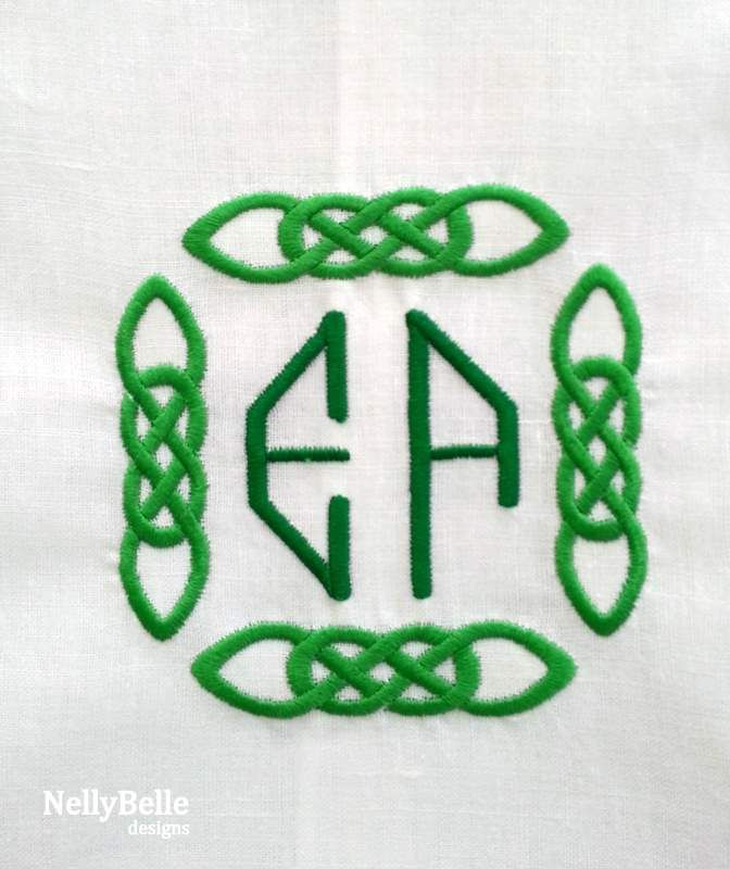 Celtic monogram in greens on guest towel. NellyBelle Designs