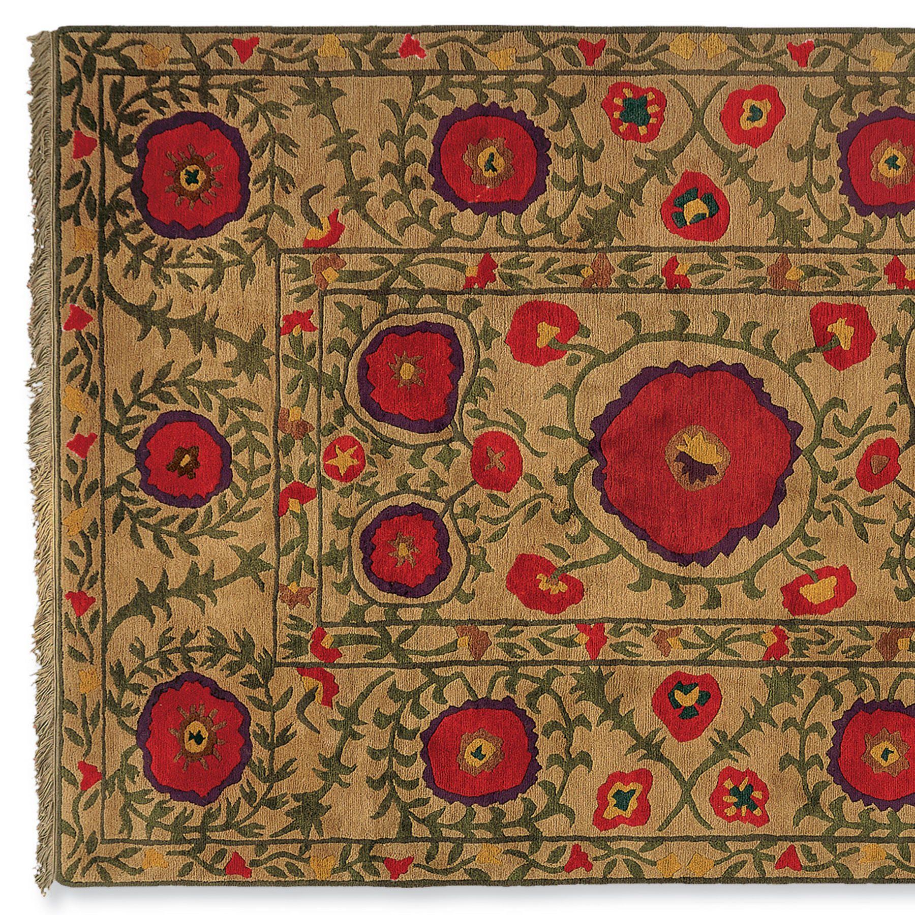 FIELD OF POPPIES KNOTTED RUG -- Tibetan Rug Weavers