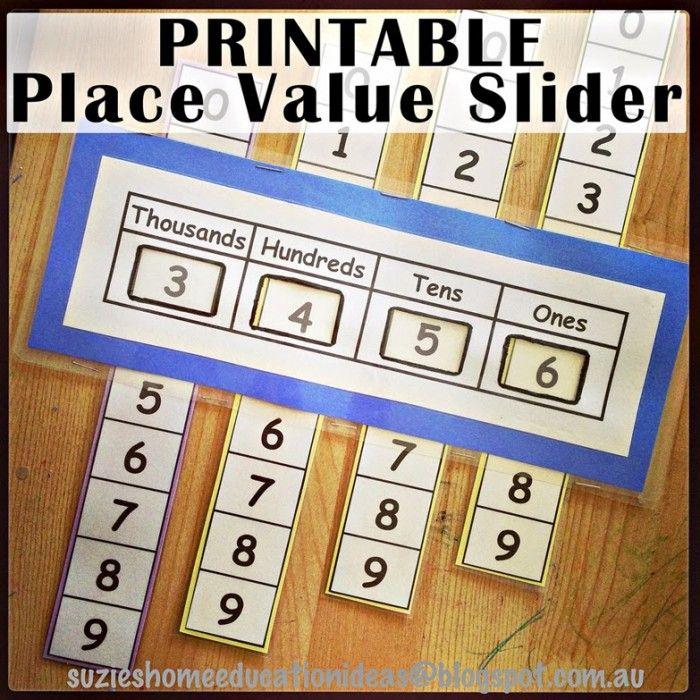 Free Printable Place Value Slider Math Place Value Homeschool Math
