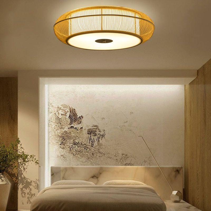 Plafonnier en bambou rond style japonais moderne pour - Plafonnier salle a manger ...