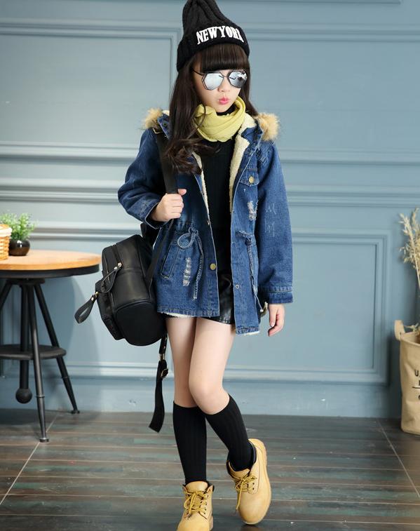 Girls Kids velvet waist Denim Tops Cowboy Outwear Clothes Jacket Coat