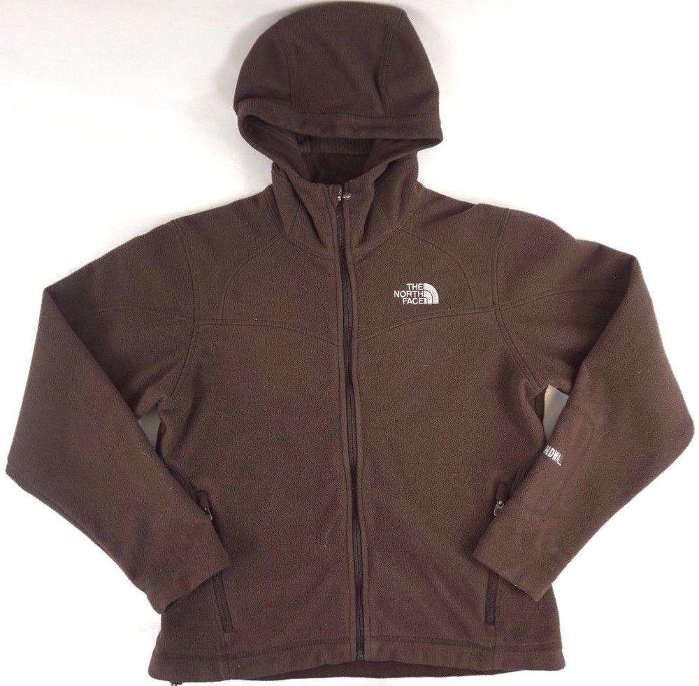 e23e91455 The North Face Women's Brown Windwall Heavy Fleece Hooded Jacket S ...