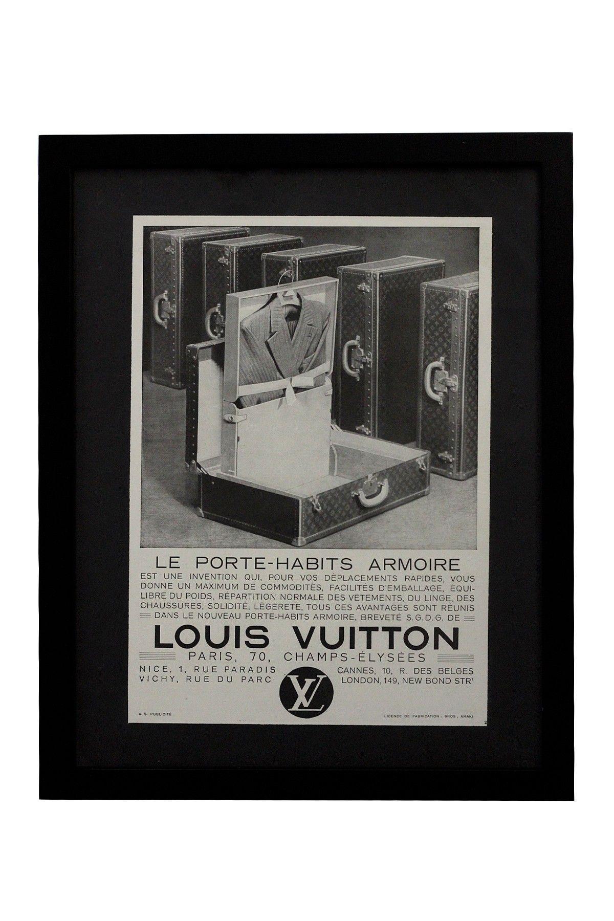 Vintage Louis Vuitton Le Porte Habits Armoire C1930 Framed
