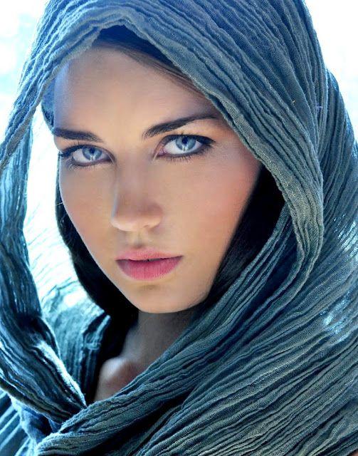Blue Veil White Woman Arabian Style