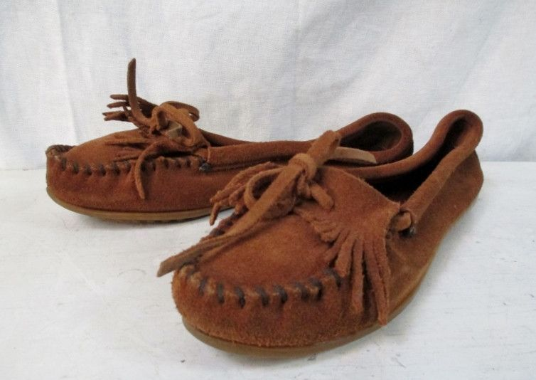 Womens MINNETONKA Suede Leather Ankle Flats Booties Moccasin BROWN Shoes 7