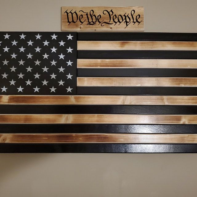 Lockable Rustic Distressed American Flag