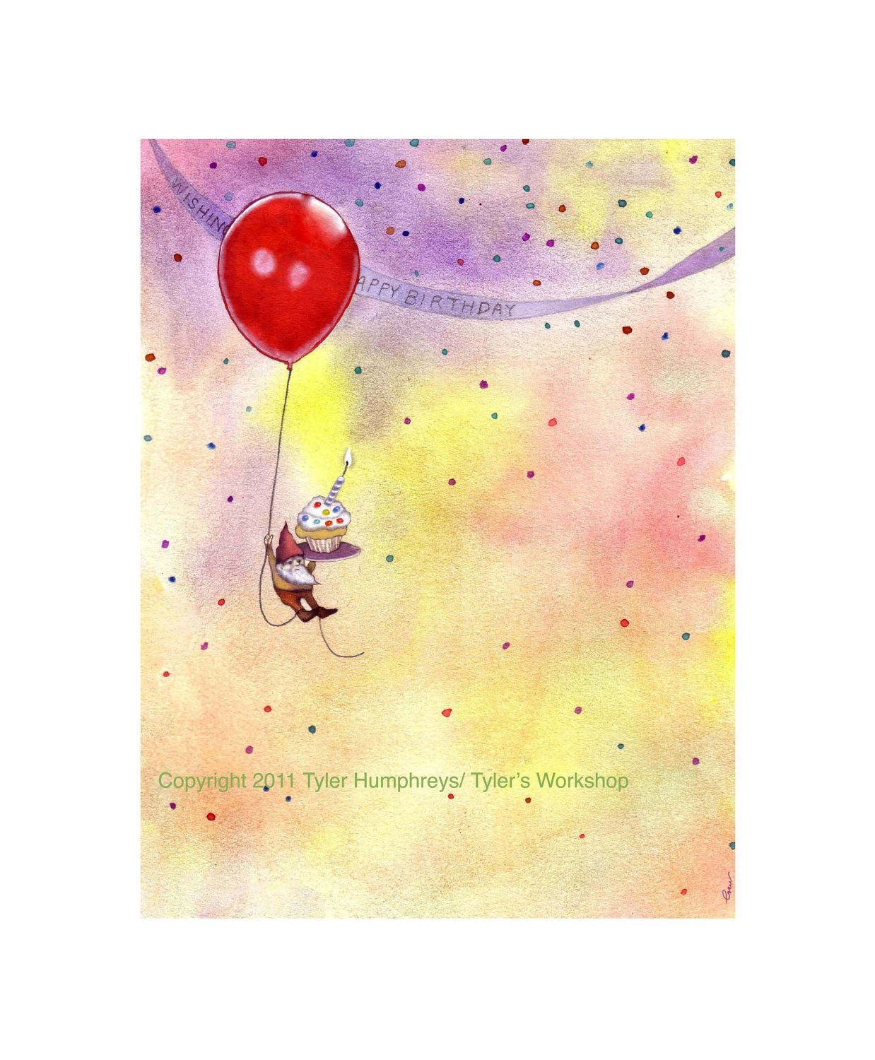 Birthday greeting card gnome birthday card funny gnome birthday greeting card gnome birthday card funny gnome watercolor illustration print 350 bookmarktalkfo Image collections