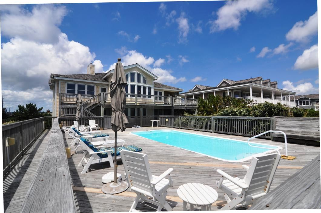 DE10. Duneridge Estates 10   Nags Head Rentals   Village Realty. 7 bedrooms. 5 full baths, 1 half bath. Pool, hot tub, WiFi. Rec room with a pool table and wet bar with a mini-fridge and microwave and full size refrigerator. Mid level den with TV and wet bar mini-fridge and microwave and deck access. TVs, DVD player. No smoking, No Pets.