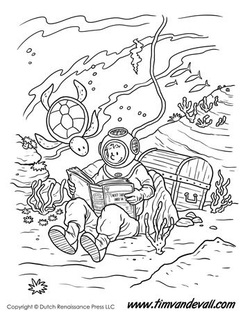 Underwater Reading Coloring Page Tim S Printables Coloring Pages Underwater Drawing Cartoon Coloring Pages