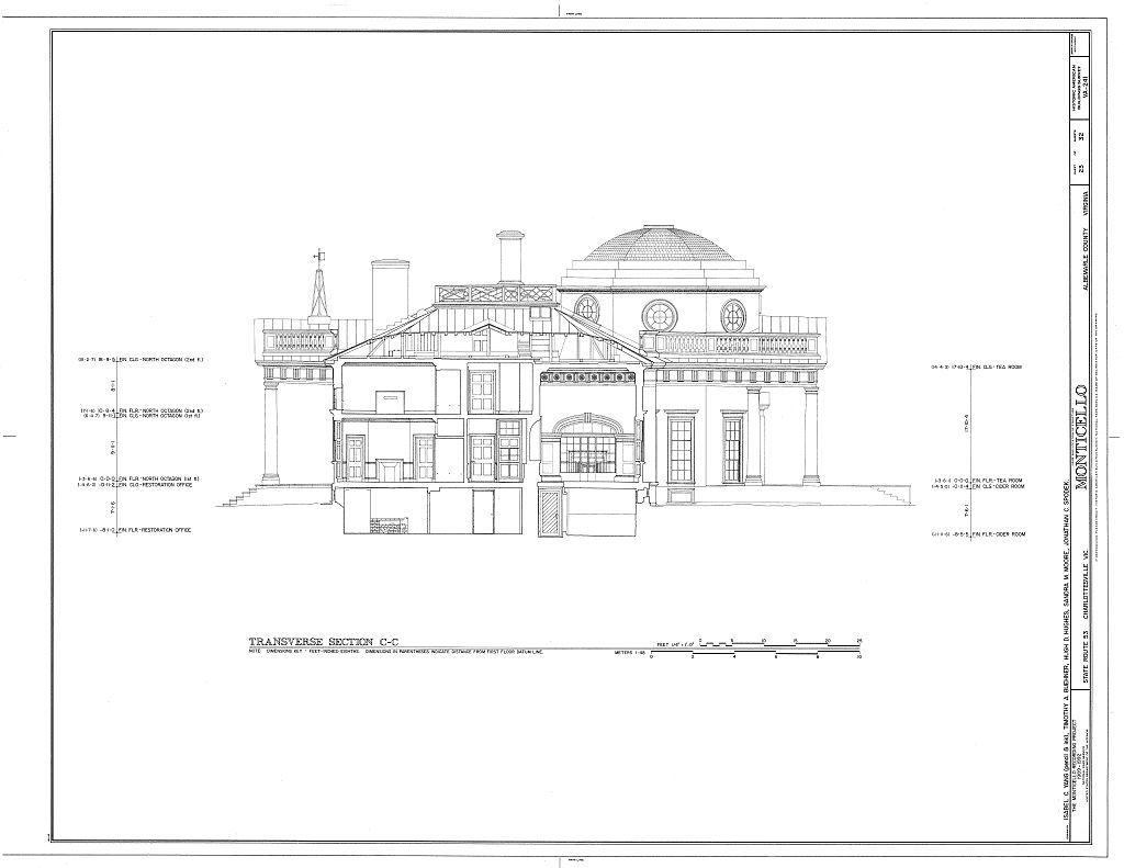 Transverse Section C C Thomas Jefferson Monticello Charlottesville Va Habs Va 2 Char V 1 Sh Monticello Cultural Architecture Architecture Blueprints