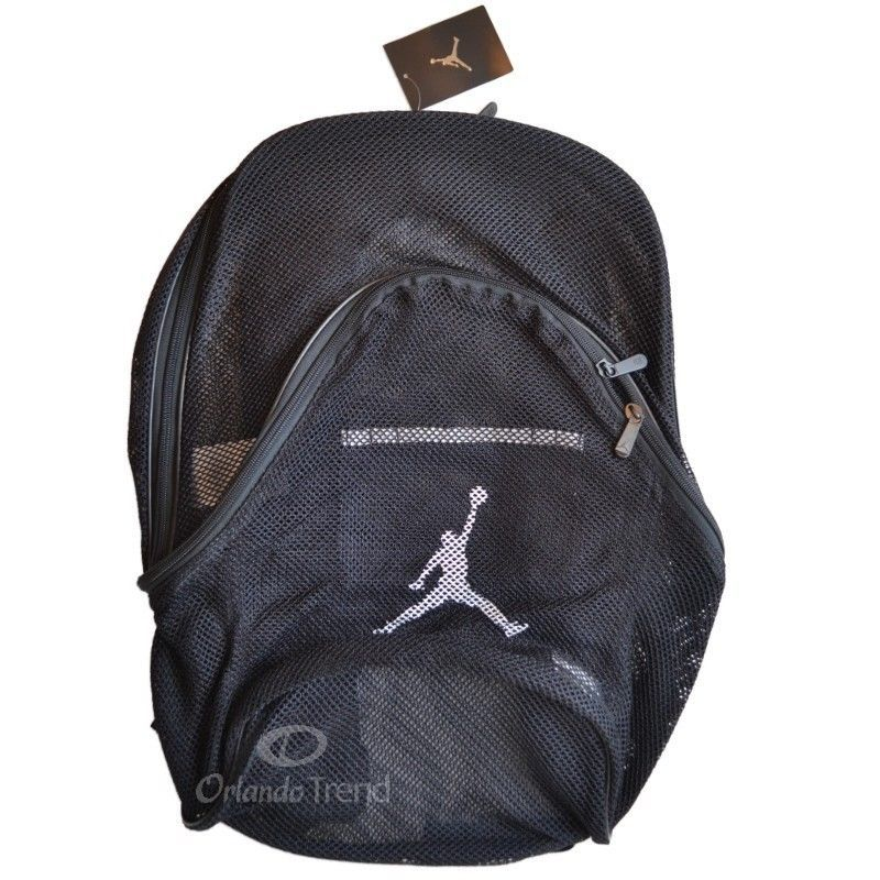 d4fb5d30b898 Nike Air Jordan Mesh Backpack Black Bag School Book 9A1482-023 Men Women  Boys  Nike  Backpack  Mesh  OrlandoTrend