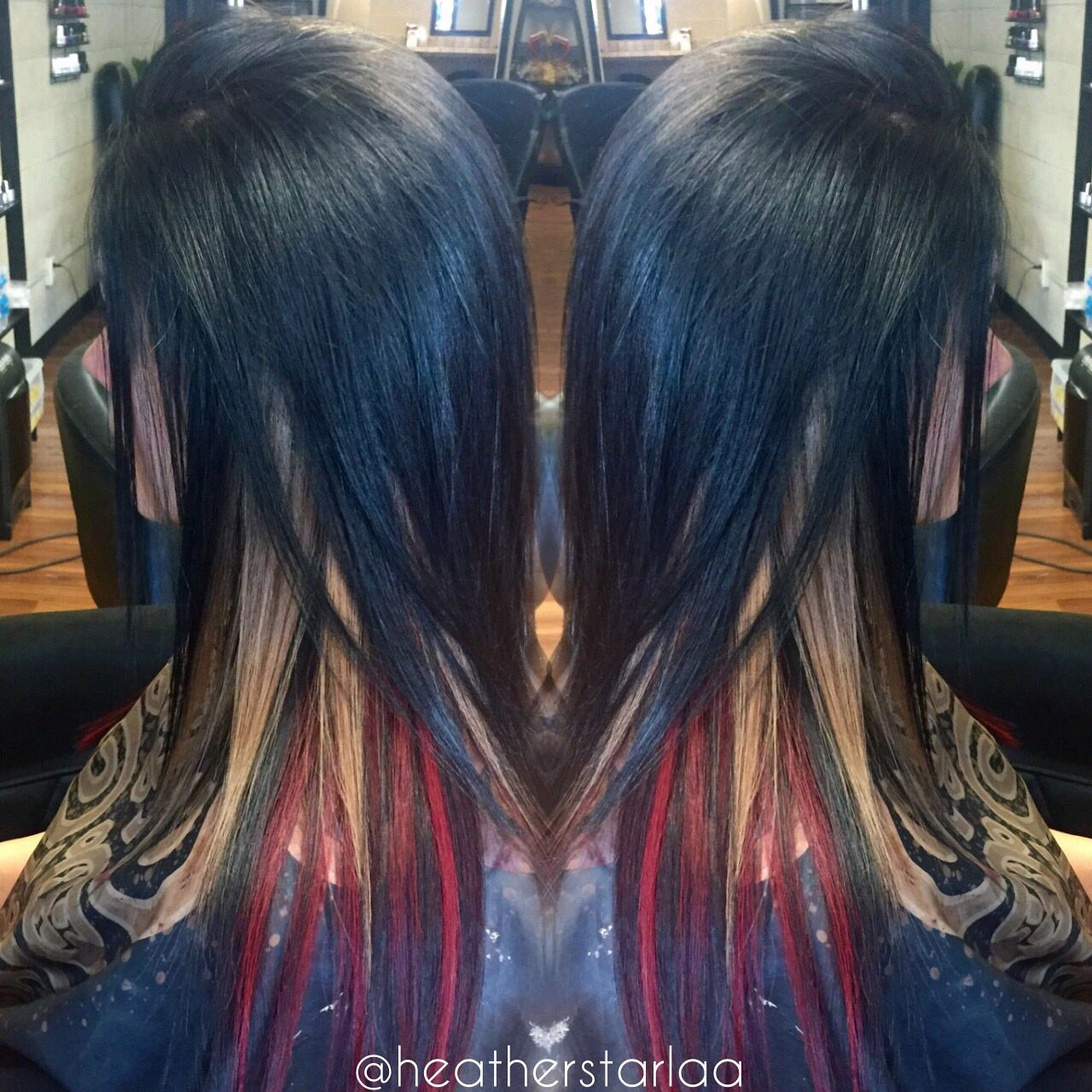 All Over Black With Red And Blonde Peekaboos Straight Hair Black