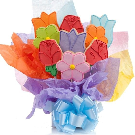 Lovely Flowers Cookie Bouquet | Cookie bouquet, Iced cookies and ...