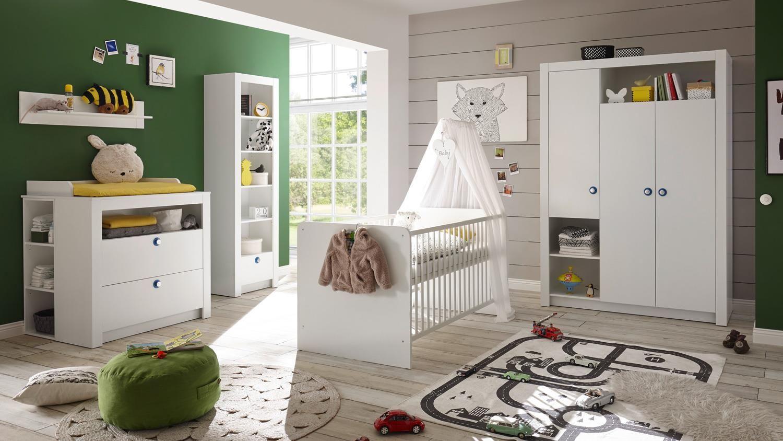 Babyzimmer PAULA Komplett Set Kinderzimmer Babymöbel weiß 6 ...