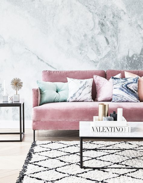 Samt-Sofa Fluente (3-Sitzer) Living rooms, Velvet furniture and Room