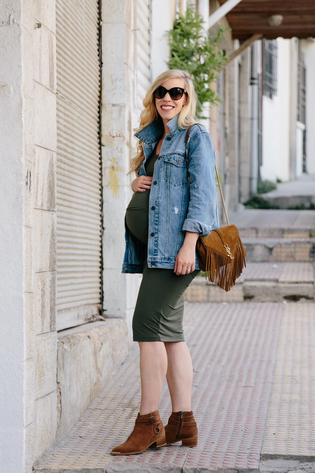 The maternity dress that will fit your entire pregnancy best of the maternity dress that will fit your entire pregnancy oversized denim jacket with olive green dress and cognac suede boots ombrellifo Images
