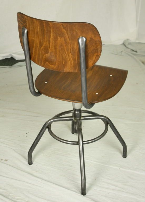 EIGHT French Industrial Steel And Wood Chairs, Adjustable Image 5