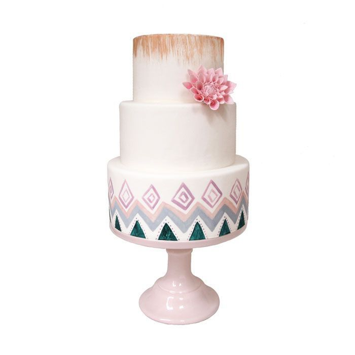 Wedding Cakes with Pink Details - via Sugarlips Cakes