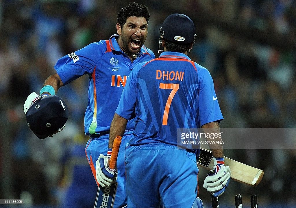 Indian Cricketer Yuvraj Singh And Captain Mahendra Singh Dhoni Yuvraj Singh India Cricket Team Cricket
