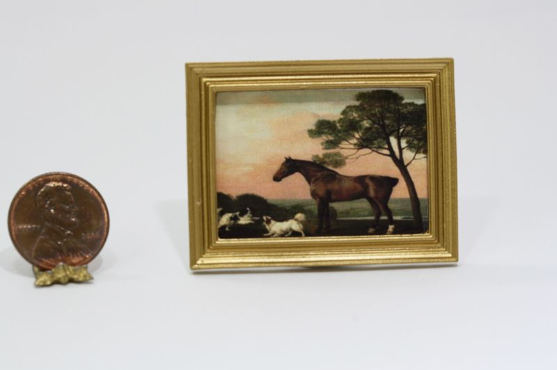Dollhouse Miniature 1:12 Equestrian Print with 2 Dogs in a Gold Frame