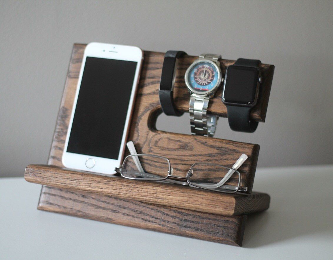 Night stand oak wood valet iphone galaxy charging stand nightstand
