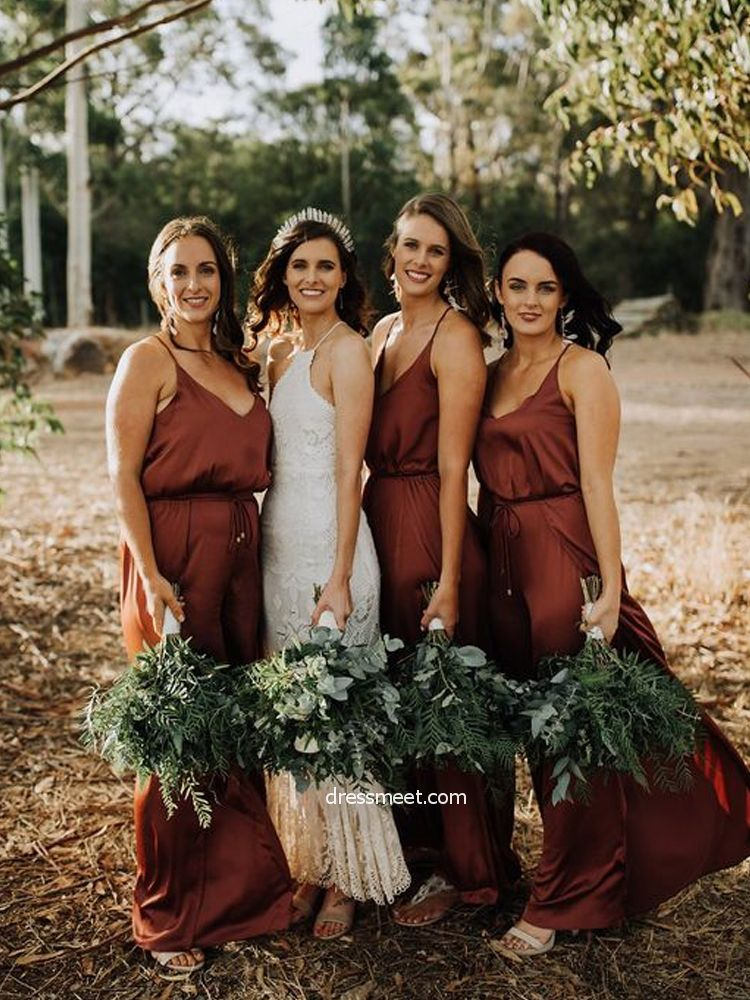 Simple Sheath V Neck Brown Satin Long Bridesmaid Dresses Rustic Bridesmaid Dresses Copper Bridesmaid Dresses Simple Bridesmaid Dresses