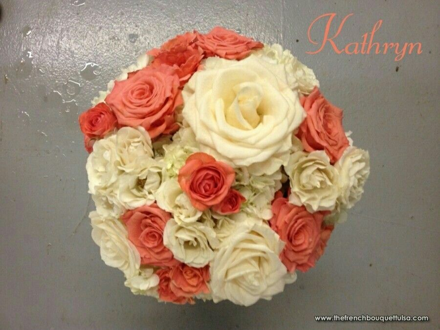 Round Wedding Bouquet Featuring Cream Garden Roses Tea Deep Coral