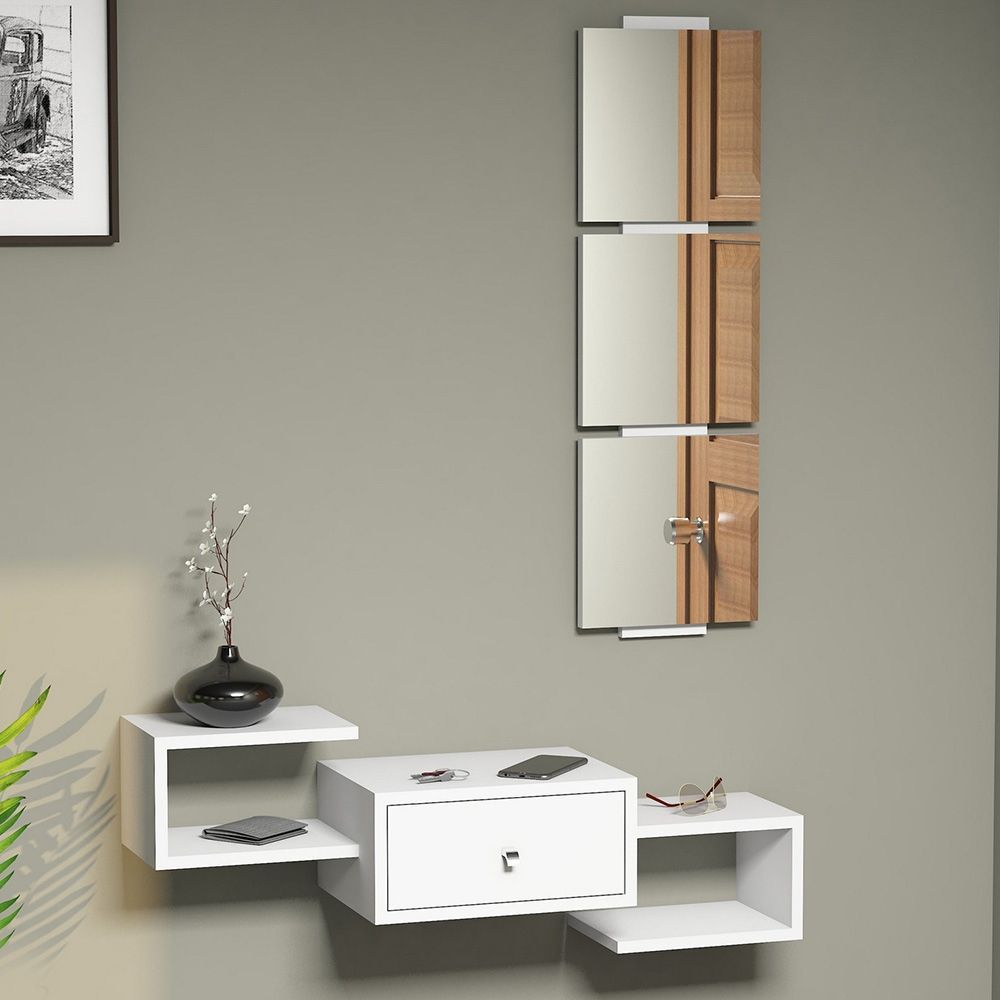 etag re murale avec tiroir 3 miroirs carr s blanc. Black Bedroom Furniture Sets. Home Design Ideas