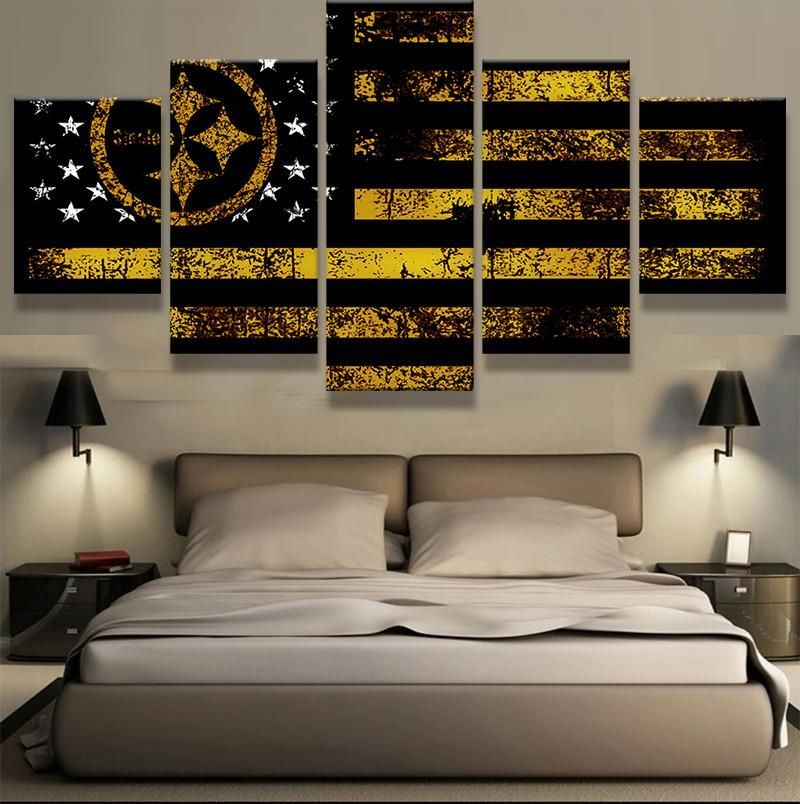 5 Panel Dallas Cowboys Canvas Prints Painting Wall Art Nfl: 5 Panel Pittsburgh Steelers Sport Canvas ManCave