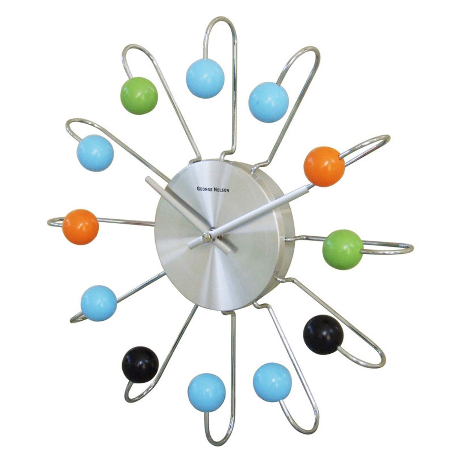 George Nelson Wooden Multi Color Atomic 13 in. Wall Clock | from hayneedle.com