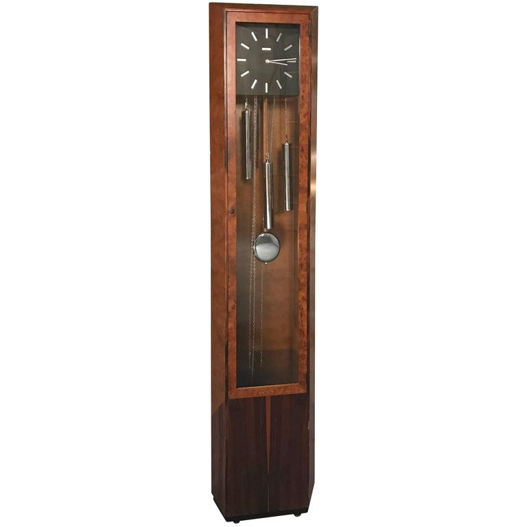 Rare George Nelson Howard Miller Burl And Rosewood Grandfather Clock Grandfather Clock Antique Grandfather Clock George Nelson Wall Clock
