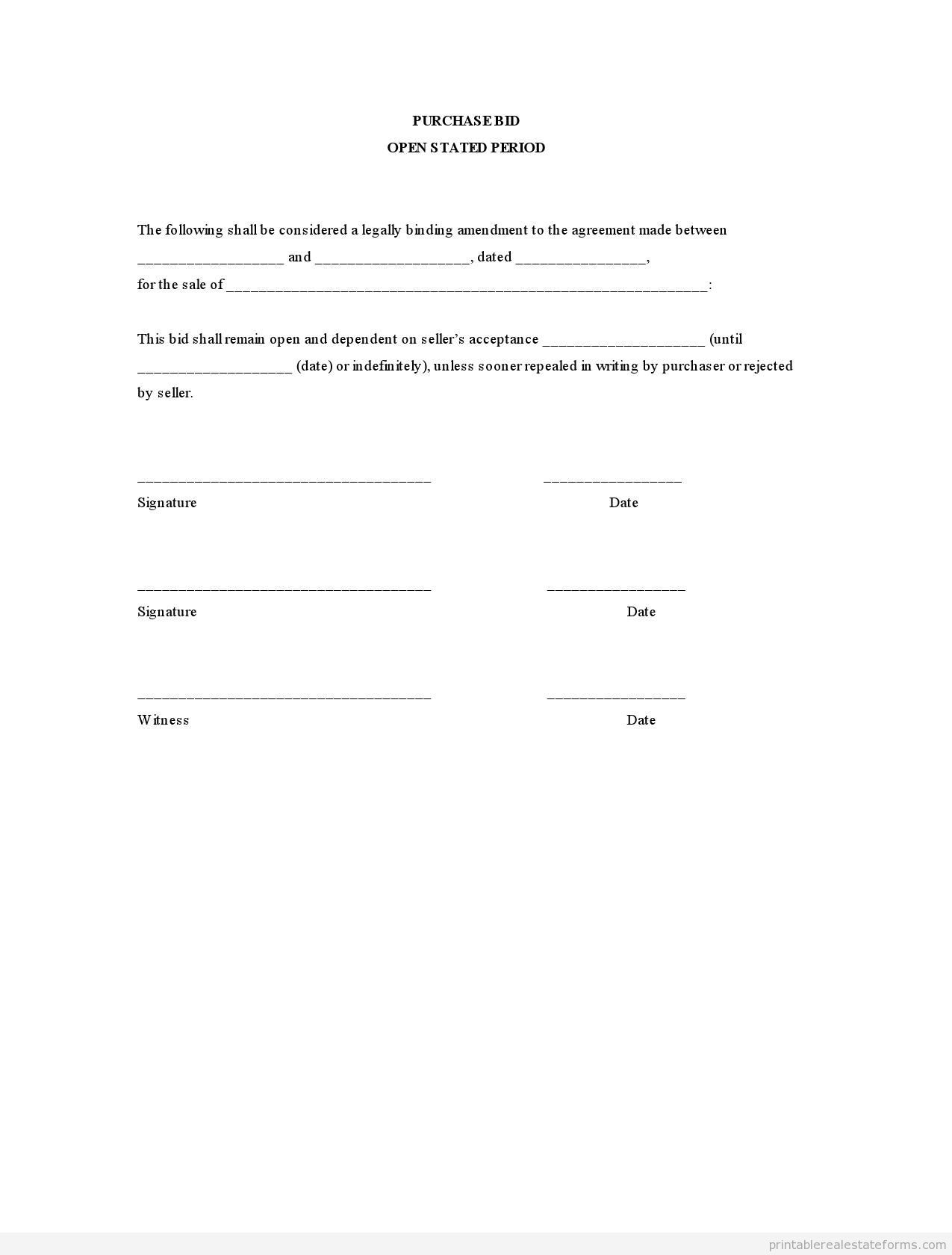 Sample Printable Purchase Bid Open Stated Period Form  Sample