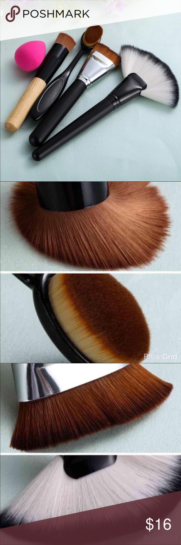 5pcs Best Makeup brushes set 5pcs Best Makeup brushes set  Highlighter fan  brush , Powder Foundation Contouring Brush With color beige blender Sponge Puff Makeup Brushes & Tools