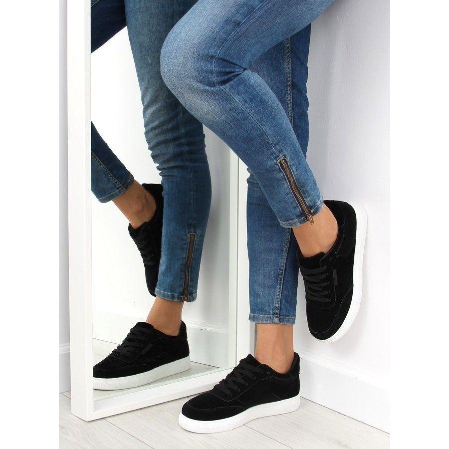 Trampki Damskie Zamszowe Czarne Nb172 Black Biale Suede Sneakers Thick Tights Trainers Women