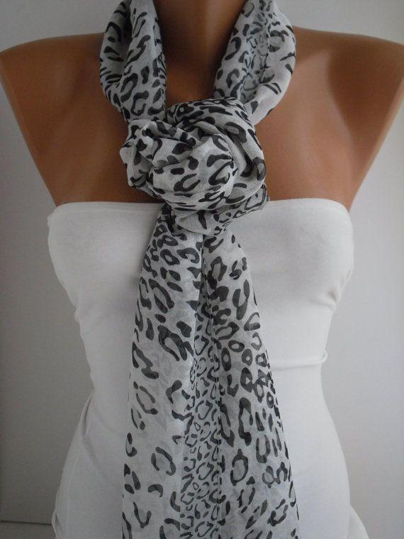 Black and White Leopard Chiffon Shawl/Scarf by DIDUCI on Etsy, $16.90