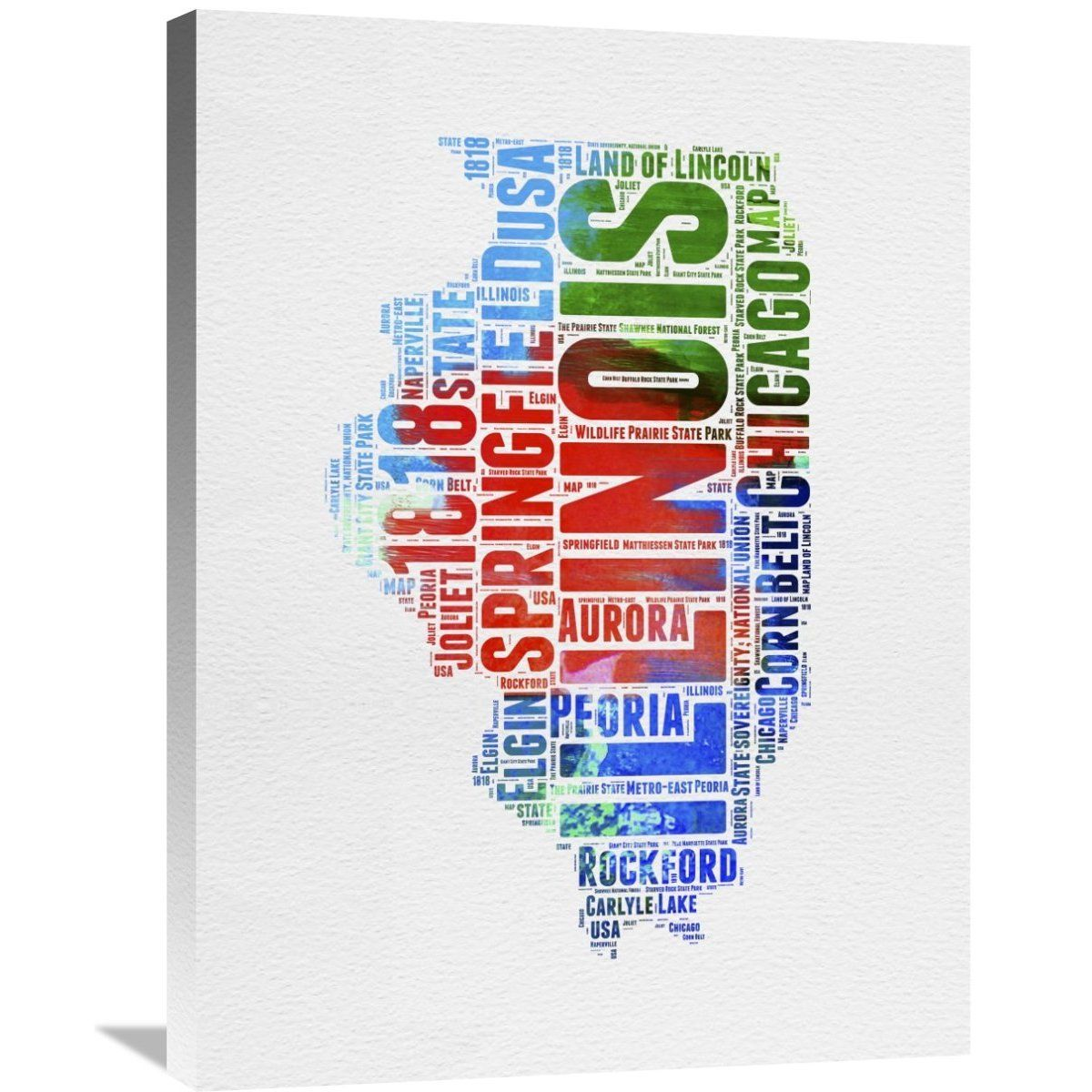 Naxart Studio 'Illinois Watercolor Word Cloud' Stretched Canvas Wall Art