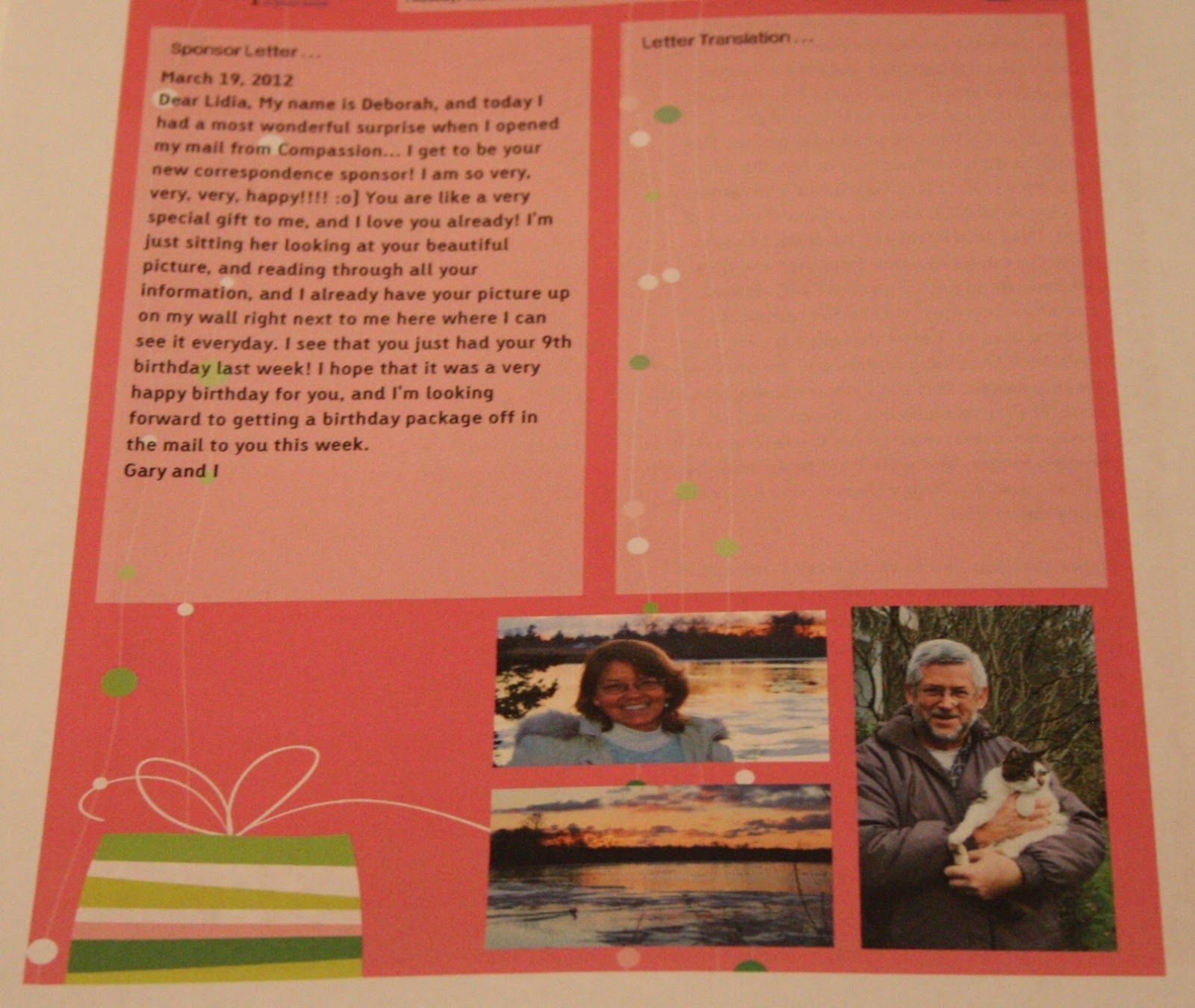 How to write a first letter to your sponsored child. Moved With