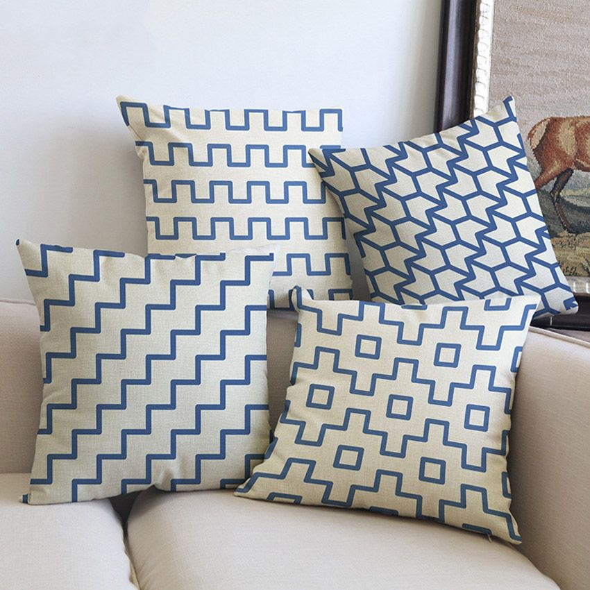 blue strips plaids nordic decorative