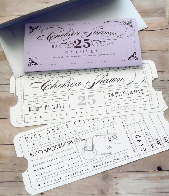 Formal Vintage Ticket Invitation With Sleeve Wrap Enclosure For