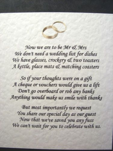 Wedding Poems Asking For Money Gifts Not Presents Wedding