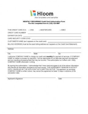 Credit Card Authorization Form Template Hloom Com Credit Card Business Credit Cards Credits