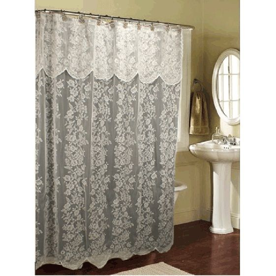 Ricardo Romance Lace White Lace Fabric Shower Curtain With An