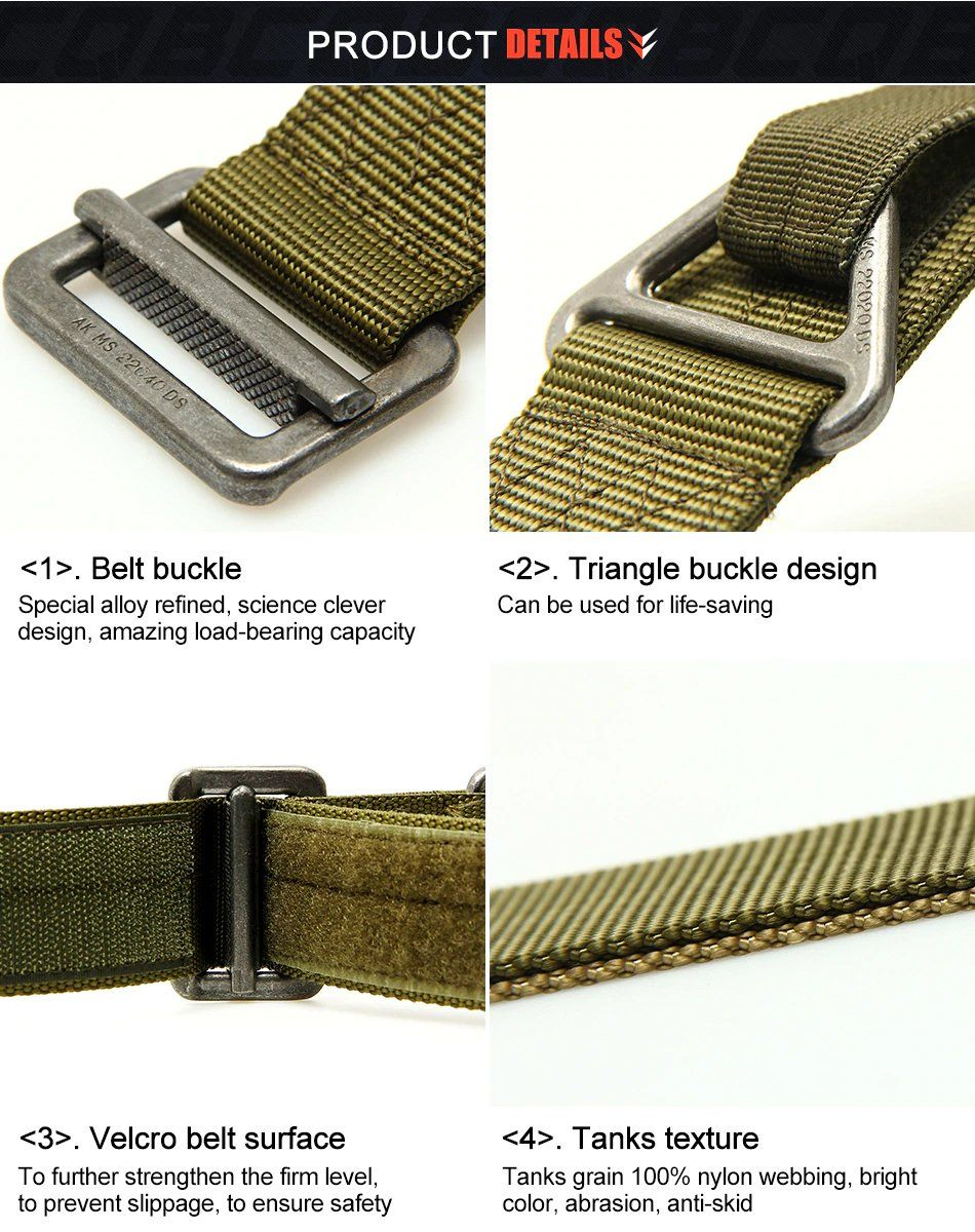 Adjustable Tactical Belt For Men Nylon Webbing Military Belt Outdoor  Essentials For Hiking Hunting Combat Service Multi-function Waist Belt - 3  Colors 545be85d74f