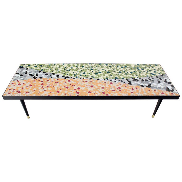 Charming Mid Century Modern Art Mosaic Top, Long Rectangular Table | From A Unique