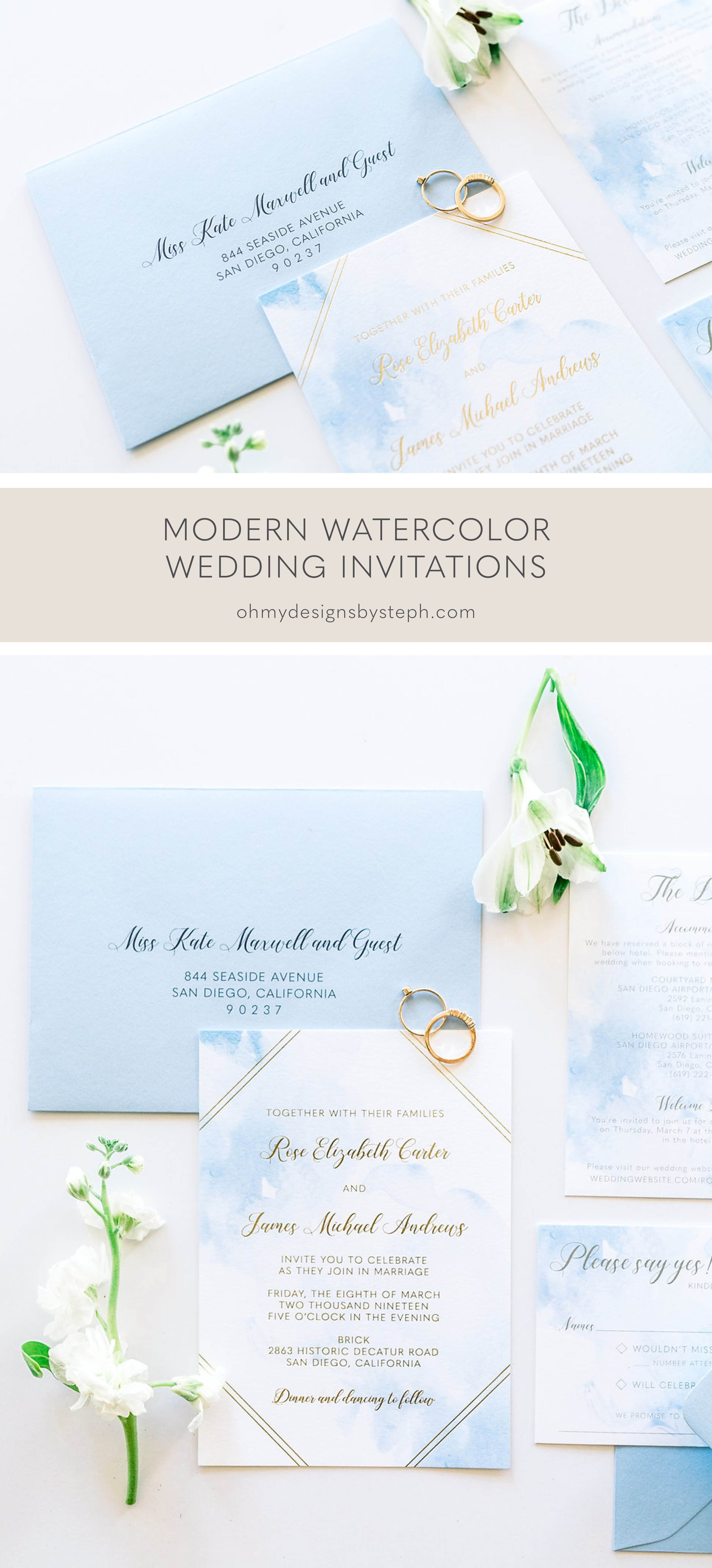 Gold Foil Watercolor Wedding Invitation Sample Luxury Wedding